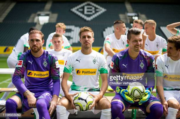 Tobias Sippel Patrick Herrmann and Max Gruen are seen during the team presentation at BorussiaPark on August 01 2019 in Moenchengladbach Germany at...