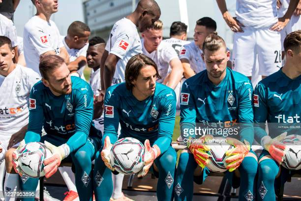Tobias Sippel, Yann Sommer and Max Gruen of Borussia Moenchengladbach are seen prior to the team picture in front of the Borussia-Park on August 07,...