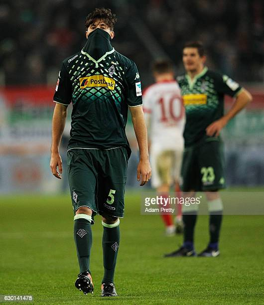 Tobias Strobl of Borussia Moenchengladbach is dejected after losing the Bundesliga match between FC Augsburg and Borussia Moenchengladbach at WWK...