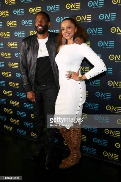 Tobias Truvillion and Noelle Bellinghausen attend the TV One Premiere Screening of 'Loved To Death' during the Pan African Film Festival at Baldwin...