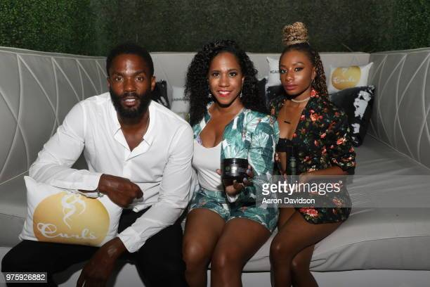 Tobias Truvillion Mahisha Dillinger and Imani Hakim attend TV One Private Dinner during American Black Film Festival 2018 at Mondrian South Beach on...