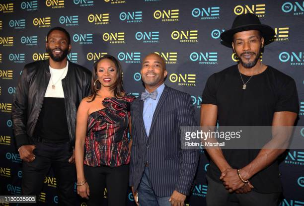 Tobias Truvillion MC Lyte Director Lee Davis and McKinley Freeman attend the TV One Premiere Screening of 'Loved To Death' during the Pan African...