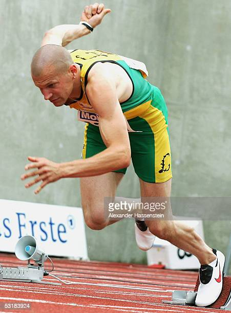 Tobias Unger competes in the men 100m during the Track and Field German Championship on July 2, 2005 in Bochum, Germany.