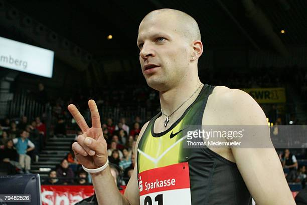 Tobias Unger of Germany is seen after the 200m final during the Sparkassen Cup 2008 at the Hanns-Martin Schleyer Hall on February 2, 2008 in...
