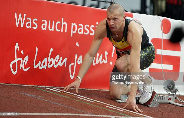 Tobias Unger of Germany is seen at the 200m final during the Sparkassen Cup 2008 at the Hanns-Martin Schleyer Hall on February 2, 2008 in Stuttgart,...