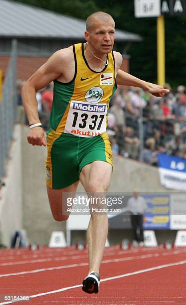Tobias Unger wins the men's 100m during the Track and Field German Championship on July 2, 2005 in Bochum, Germany.