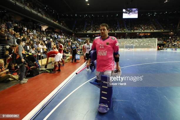 Tobias Walter of Germany walk off the pitch during the Mens Gold Medal Indoor Hockey World Cup Berlin Final Day match between Germany and Austria on...