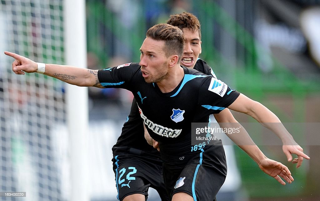 Tobias Weis of Hoffenheim celebrates after scoring his team's third goal during the Bundesliga match between SpVgg Greuther Fuerth and TSG 1899 Hoffenheim at Trolli-Arena on March 9, 2013 in Fuerth, Germany.