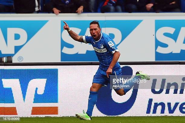 Tobias Weis of Hoffenheim celebrates his team's first goal during the Bundesliga match between TSG 1899 Hoffenheim and 1 FC Nuernberg at...