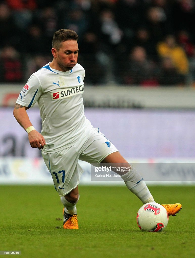 Tobias Weis of Hoffenheim during the Bundesliga match between Eintracht Frankfurt and 1899 Hoffenheim at Commerzbank-Arena on January 26, 2013 in Frankfurt am Main, Germany.
