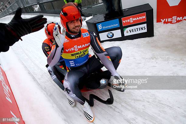 Tobias Wendl and Tobias Arlt of Germany celebrate after winning the second place of the men doubles of the Viessmann Luge World Cup Day 1 at Veltins...