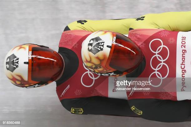 Tobias Wendl and Tobias Arlt of Germany make a run during the Luge Doubles on day five of the PyeongChang 2018 Winter Olympics at the Olympic Sliding...