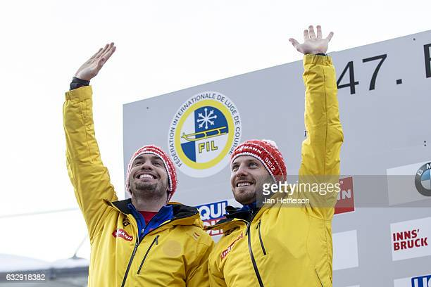Tobias Wendl and Tobias Arlt of Germany pose for a picture at the victory ceremony of the Men's Double competition during the second day of the...