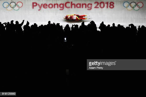 Tobias Wendl and Tobias Arlt of Germany slide during the Luge Doubles run 1 on day five of the PyeongChang 2018 Winter Olympics at the Olympic...