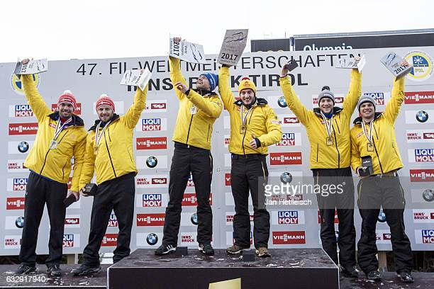 Tobias Wendl and Tobias Arlt of Germany Toni Eggert and Sascha Benecken of Germany and Robin Johannes Geueke and David Gamm of Germany pose for a...