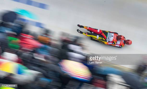 Tobias Wendl and Tobias Artl of Germany in action during the first run of the Luge World Championship double race at Veltins EisArena on January 26...