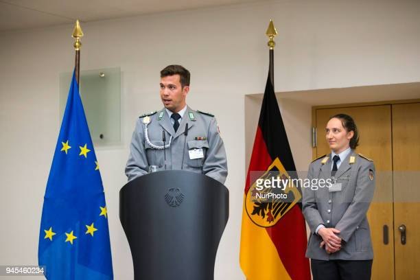 Tobias Wendl speaks during a ceremony to honour the members of the Bundeswehr who attended the Winter Olympic Games in Pyeongchang at the Ministry of...