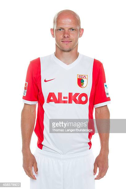 Tobias Werner poses during the FC Augsburg team presentation at SGLArena on July 16 2014 in Augsburg Germany