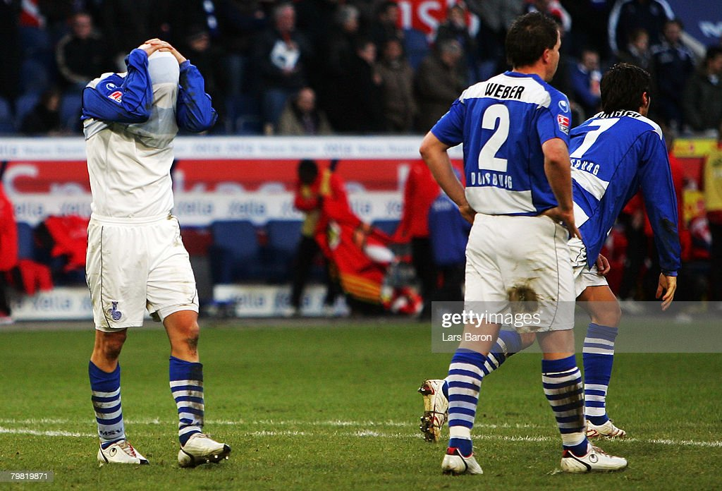 Tobias Willi of Duisburg looks dejected after loosing the Bundesliga match between MSV Duisburg and VfB Stuttgart at the MSV Arena on February 16, 2008 in Duisburg, Germany.