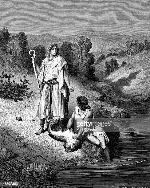 Tobias with the Archangel Raphael 18651866 Tobias with the Archangel who helped him catch fish which would miraculously restore his father's eyesight...