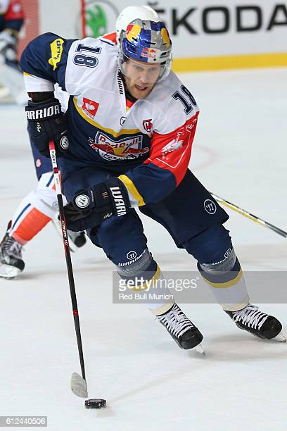 Tobias Woerle of Munich during the Champions Hockey League Round of 32 match between Red Bull Munich and Vaxjo Lakers at Olympia-Eisstadion on...
