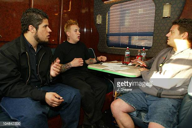 Tobin Esperance and Jacoby Shaddix of Papa Roach on their tour bus during the LoveHateTragedy tour