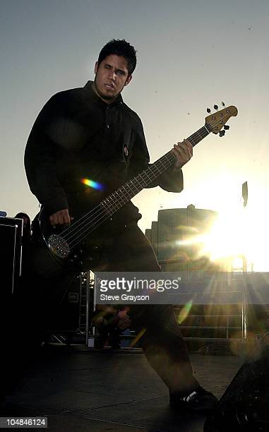 Tobin Esperance during Papa Roach InStore Rooftop Concert at Best Buy in Los Angeles California United States