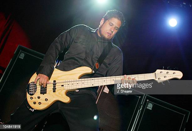 Tobin Esperance of Papa Roach during Anger Management Tour 2002 at Shoreline Amphitheatre in Mountain View California United States