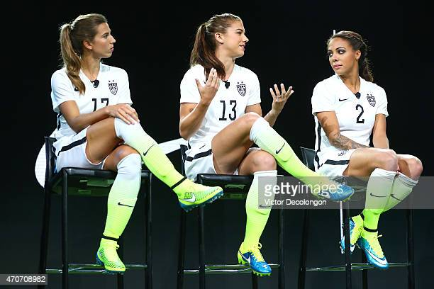 Tobin Heath Alex Morgan and Sydne Leroux of the United States Women's Soccer Team and Nike unveil World Cup uniforms at Quixote Studios on April 22...