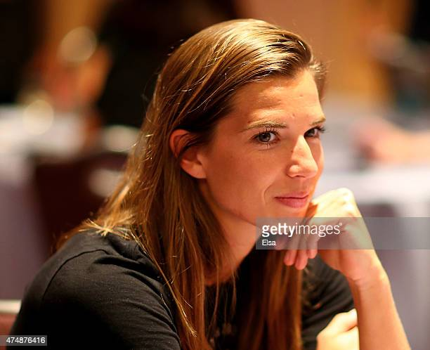 Tobin Heath answers questions during the United States Women's World Cup Media Day at Marriott Marquis Hotel on May 27 2015 in New York City