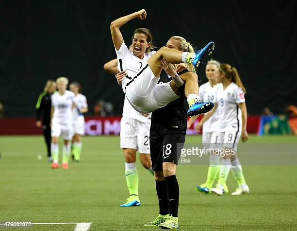 Tobin Heath celebrates with Ashlyn Harris of the United States after the 20 victory against Germany in the FIFA Women's World Cup 2015 SemiFinal...
