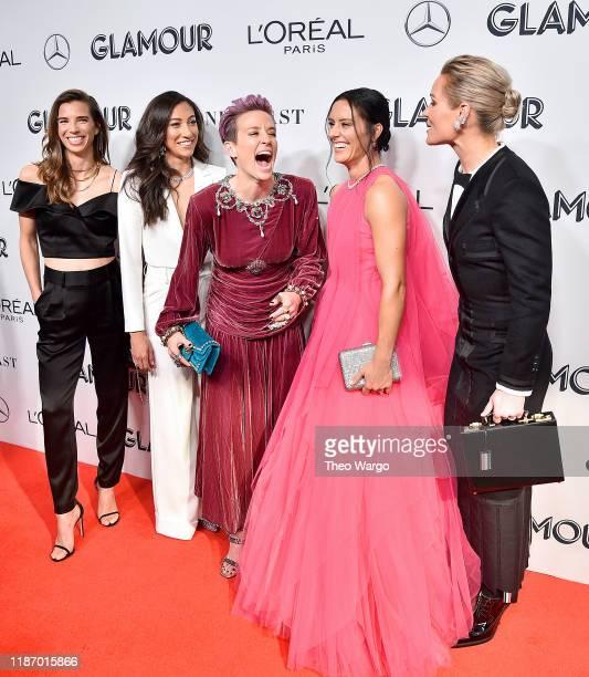 Tobin Heath Christen Press Megan Rapinoe Ali Krieger and Ashlyn Harris attend the 2019 Glamour Women Of The Year Awards at Alice Tully Hall on...