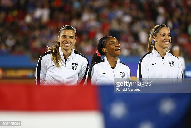 Tobin Heath Crystal Dunn and Morgan Brian before a match against Costa Rica during the 2016 CONCACAF Women's Olympic Qualifying at Toyota Stadium on...
