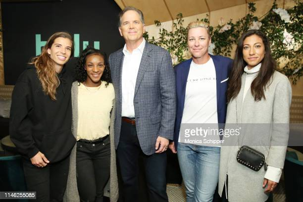 Tobin Heath Crystal Dunn Hulu CEO Randy Freer Abby Wambach and Christen Press during the Hulu '19 Presentation at Hulu Theater at MSG on May 01 2019...