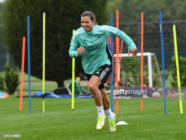 Tobin Heath of Arsenal during the Arsenal Women's training session at London Colney on September 25, 2021 in St Albans, England.