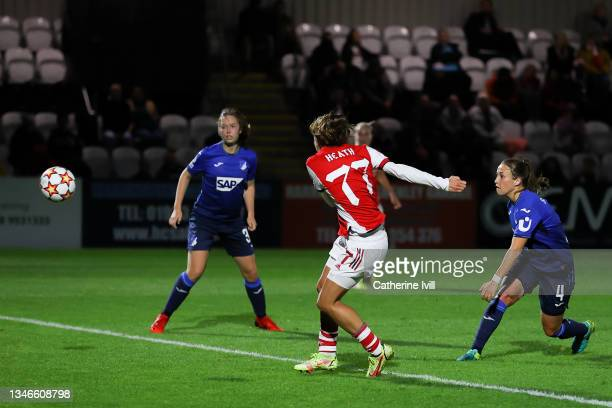 Tobin Heath of Arsenal Women FC scores his team's second goal during the UEFA Women's Champions League group C match between Arsenal WFC and 1899...