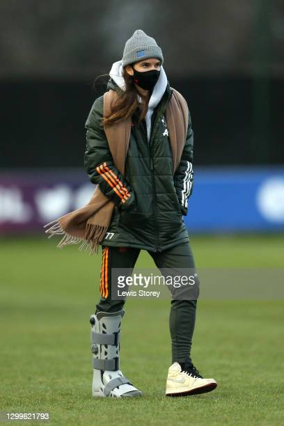 Tobin Heath of Manchester United is seen wearing an ankle brace and a face mask following the Barclays FA Women's Super League match between Everton...