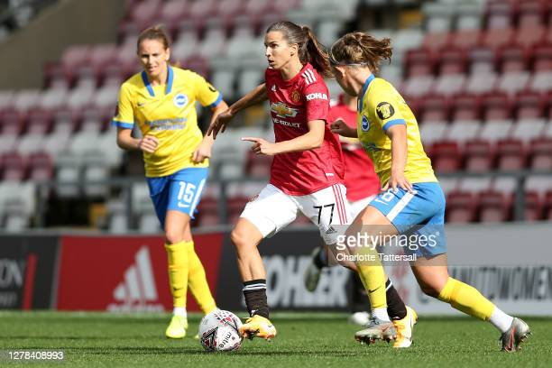 Tobin Heath of Manchester United on the ball during the Barclays FA Women's Super League fixture between Manchester United and Brighton & Hove Albion...