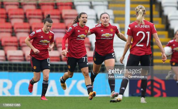 Tobin Heath of Manchester United Women celebrates after scoring her goal during the Barclays FA Women's Super League match between Manchester United...