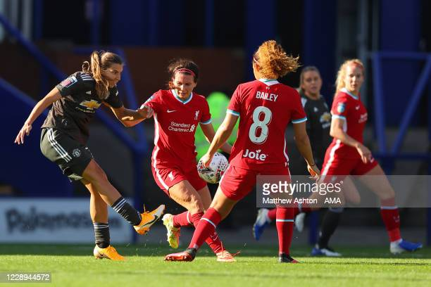 Tobin Heath of Manchester United Women has a shot at goal during the FA Women's Continental League Cup match between Liverpool FC Women and...