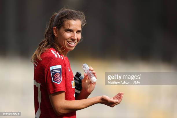 Tobin Heath of Manchester United Women with hand sanitiser during the Covid19 pandemic after the Barclays FA Women's Super League match between...