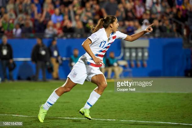Tobin Heath of the United States celebrates after scoring a goal against Jamaica during the first half of the CONCACAF Women's Championship...