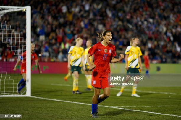 Tobin Heath of the United States celebrates after scoring a goal against Australia during the second half of an international friendly at Dick's...