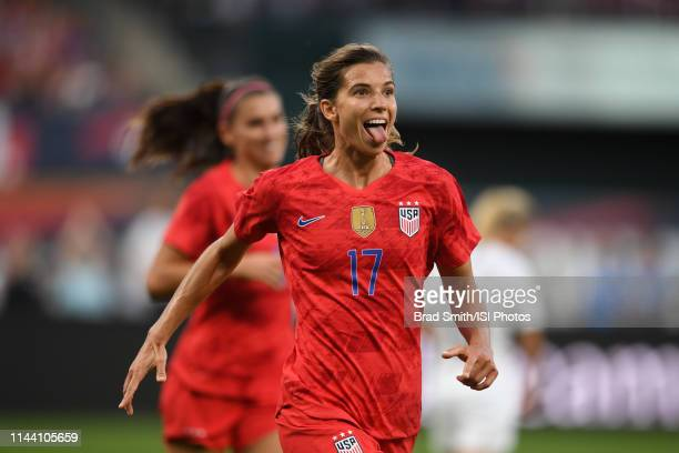 Tobin Heath of the United States celebrates scoring during an international friendly between the women's national teams of the United States and New...