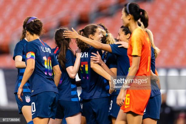 Tobin Heath of the United States celebrates with teammates after scoring during the second half against China at FirstEnergy Stadium on June 12 2018...