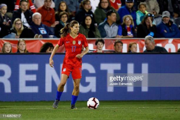 Tobin Heath of the United States in action during an international friendly against Australia at Dick's Sporting Goods Park on April 4 2019 in...
