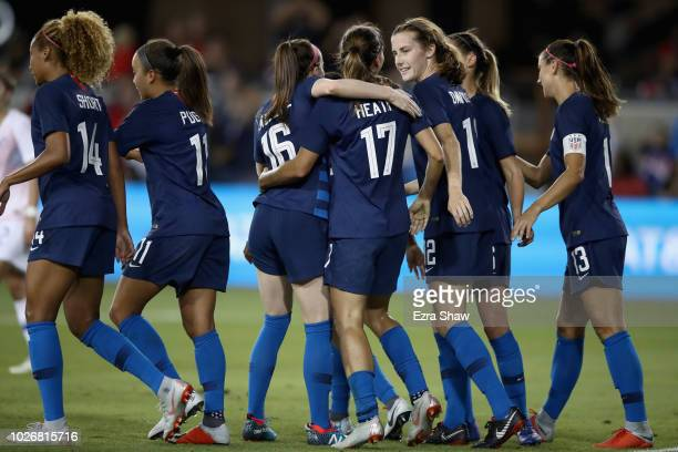 Tobin Heath of the United States is congratulated by teammates after she scored a goal against Chile during their match at Avaya Stadium on September...