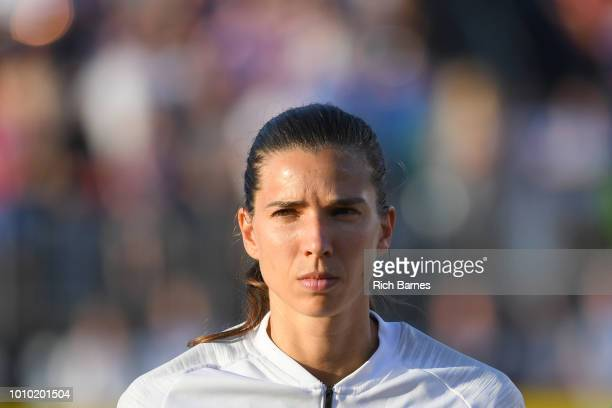 Tobin Heath of the United States looks on prior to the match against Australia in a Tournament of Nations game played at Pratt Whitney Stadium on...