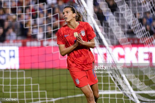 Tobin Heath of the United States reacts after taking a shot against Australia at Dick's Sporting Goods Park on April 4 2019 in Commerce City Colorado