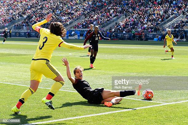 Tobin Heath of the United States reacts to being fouled by Natalia Gaitn of Colombia during the second half at Talen Energy Stadium on April 10 2016...